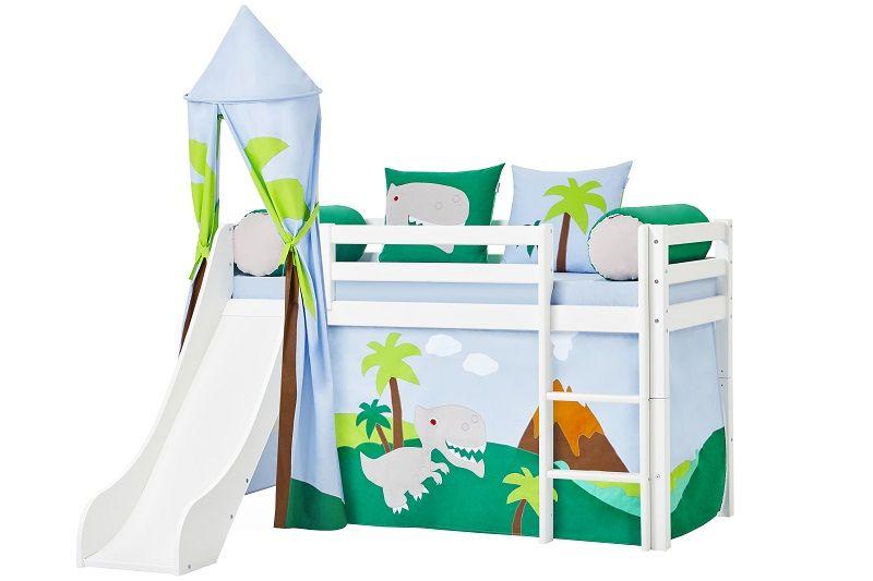 Hoppekids - Dinosaur Tårn Ø85 - Blå og grøn - Legetårn til halvhøj seng