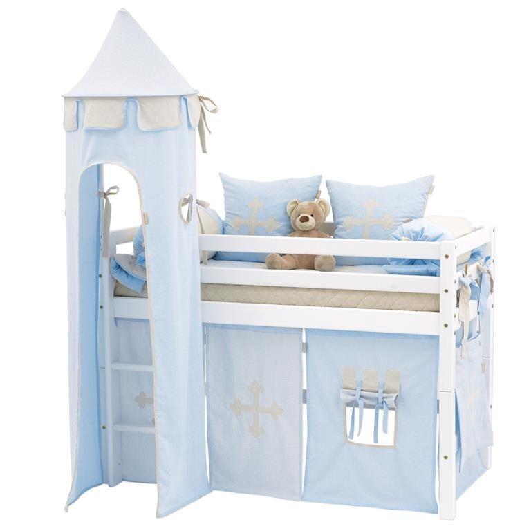 Hoppekids Fairytale Knight Tårn - Lyseblåt tårn til halvhøj seng