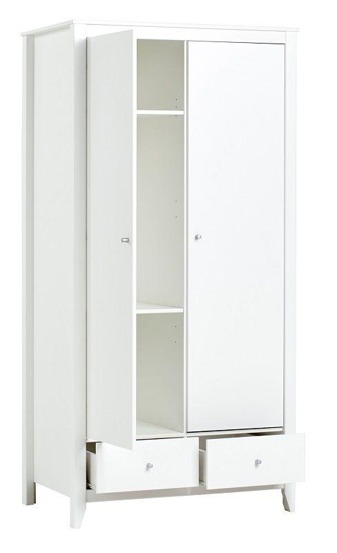 HoppeKids Garderobeskab - Hvidt skab med 2 døre og 2 skuffer
