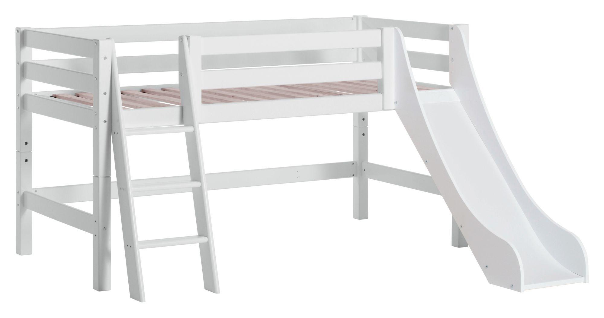 Hoppekids PREMIUM Halvhøj seng m. rutsjebane, 90x200