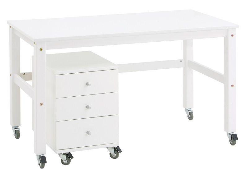 Hoppekids Skrivebord - Hvidt skrivebord på hjul