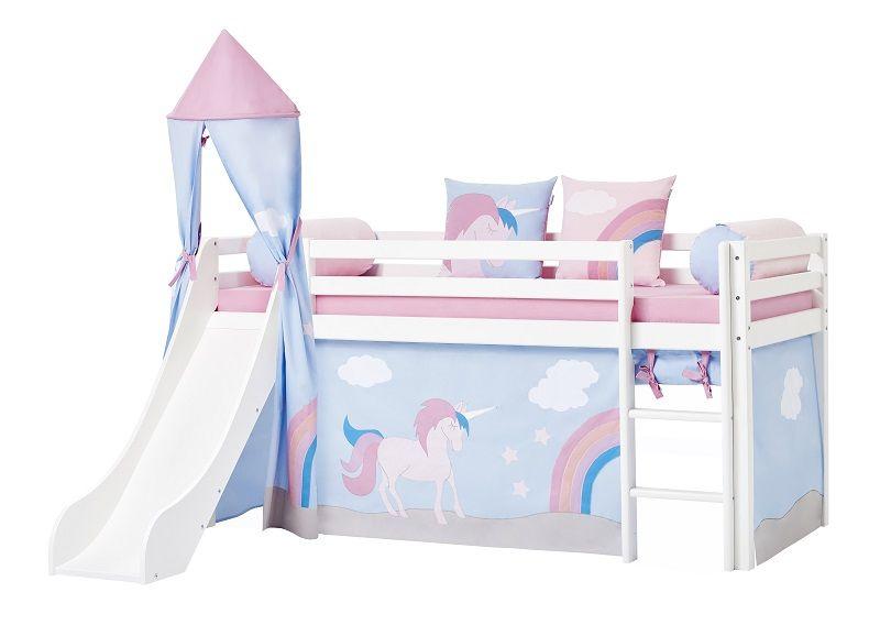 Hoppekids - Unicorn Forhæng 160x70 - Lyseblå - Unicorn forhæng til halvhøj seng 160x70