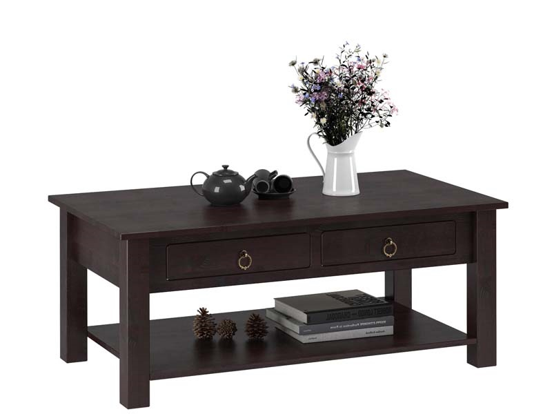 Inga Sofabord Mørk lakeret fyrretræ - 110x60 - Sofabord med to skuffer