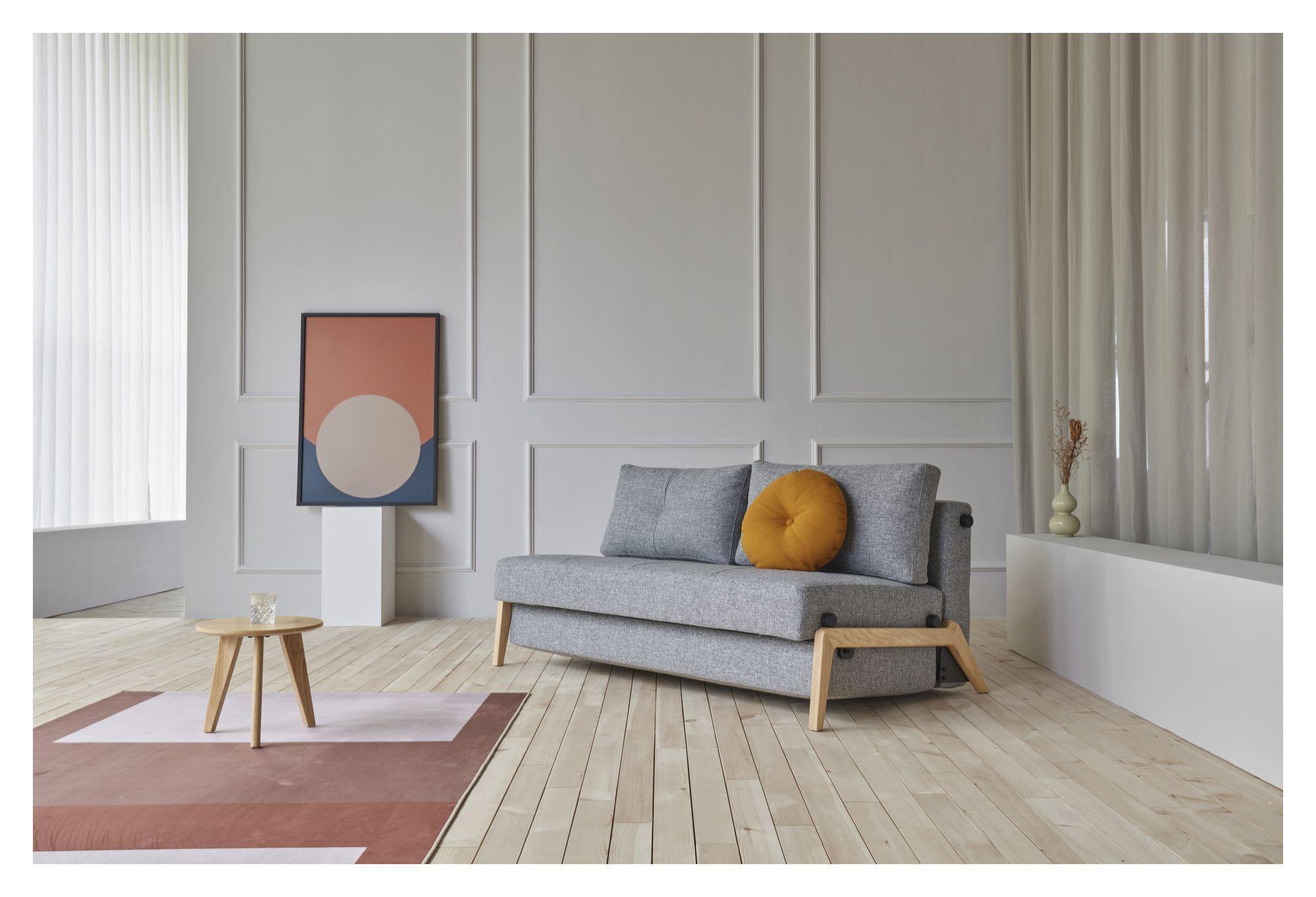 Innovation Living - Cubed 02 Sovesofa 140 m. Egeben, Granit grå - Grå sovesofa med egeben