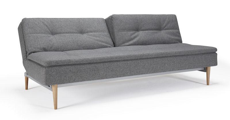 Innovation Living - Dublexo Sovesofa - Grå - med lyse kejleformede træben