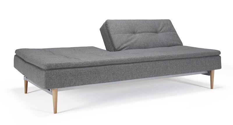 Innovation Living - Dublexo Styletto Sovesofa - Grå - med lyse kejleformede træben