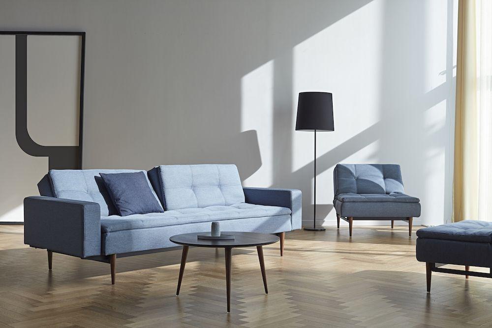 Innovation Living, Dublexo Styletto Sovesofa m/armlæn, Blå - Sovesofa med mørke træben