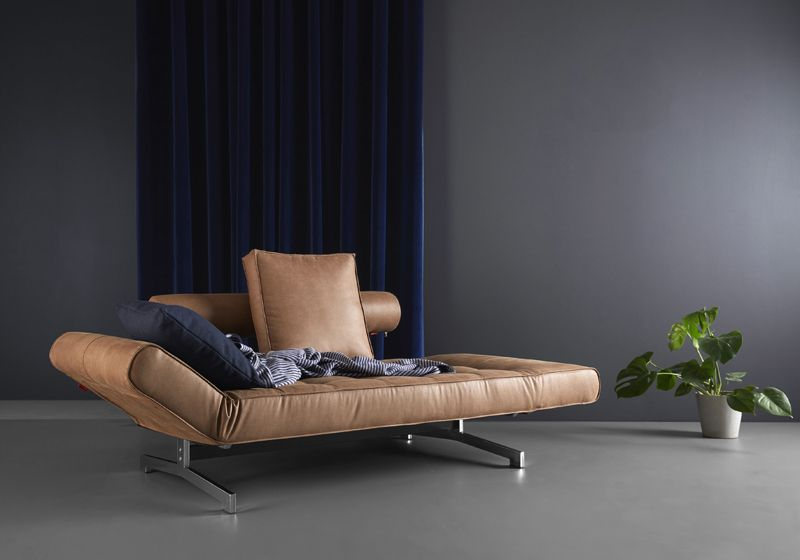 Innovation Living, Ghia Chrome Sovesofa, Brun - Sovesofa i brun lædertekstil