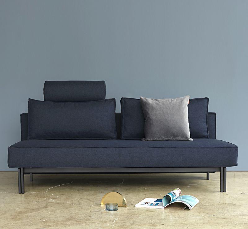 Innovation Living - Sly Sovesofa Blå m. matsorte ben - Blå sovesofa 140x200 cm
