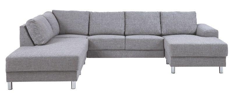 sofa grå Johnston U sofa   Grå stof   Venstre   Gratis fragt sofa grå