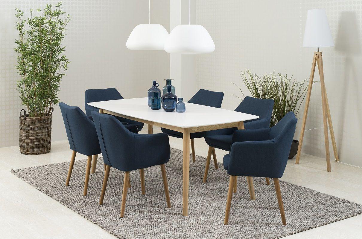 Julius/Amada Spisebordssæt - Blå - Spisebordssæt m/4 stole