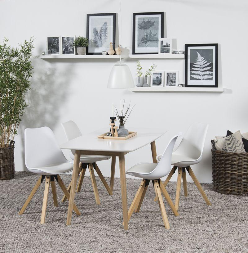 Julius Spisebord - Hvid - 150x80 - Spisebord m. hvidlakeret træbordplade