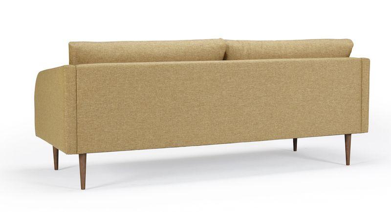 Kragelund Hugo 3-pers. sofa Gul - Helpolstret sofa med ben i valnød