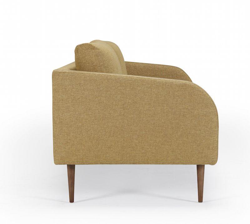 Kragelund Husum 3-pers. sofa Gul - Helpolstret sofa med ben i valnød