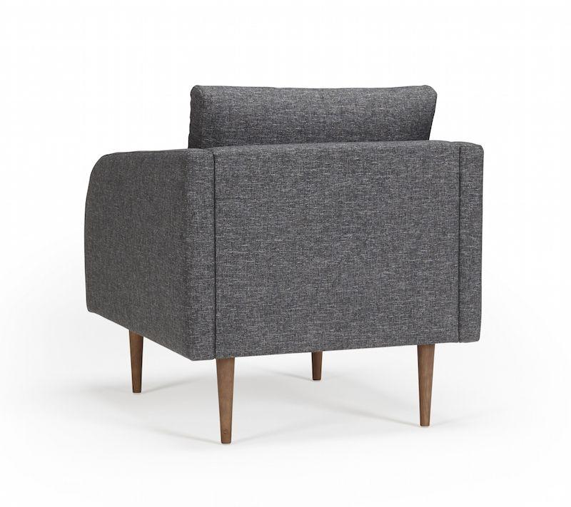 Kragelund Husum lænestol Grå - Helpolstret lænestol med ben i valnød