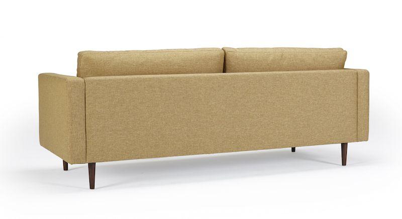 Kragelund Otto 3-pers. sofa Gul - Helpolstret sofa med ben i valnød