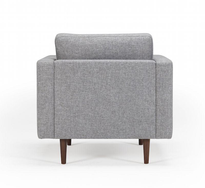 Kragelund Obling lænestol Grå - Helpolstret lænestol med ben i valnød