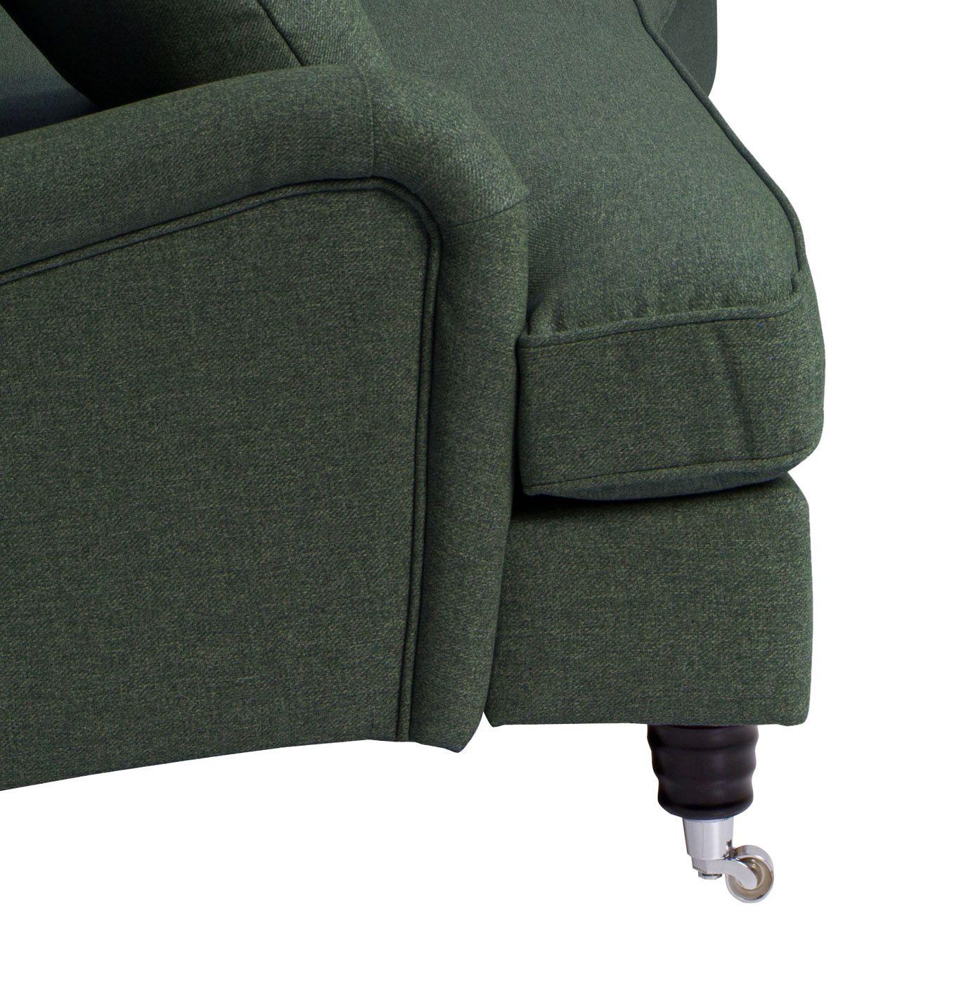 Lancaster 3-pers. sofa - Flaskegrøn m. hjul