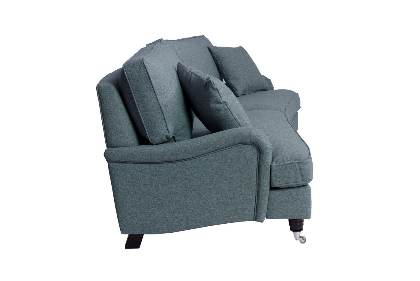 Lancaster 3-pers. sofa m/bue - Blå m. hjul
