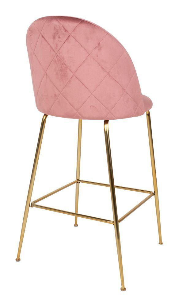 Lausanne Barstol i rosa velour med ben i messing look