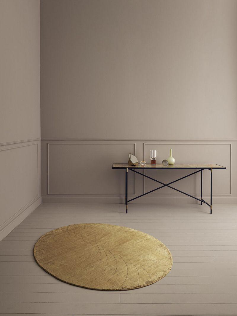 Linie Design Momento mustard, Viscose tæppe - 140x170 - Ovalt tæppe i gul
