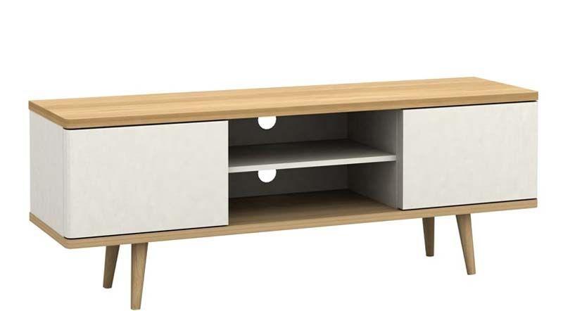 alexandra tv bord hvid og ege look gratis fragt. Black Bedroom Furniture Sets. Home Design Ideas