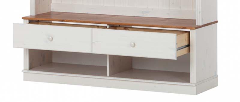 Anja TV-bord hvidpigmenteret/honning fyrretræ      - TV-bord i hvid med skuffer