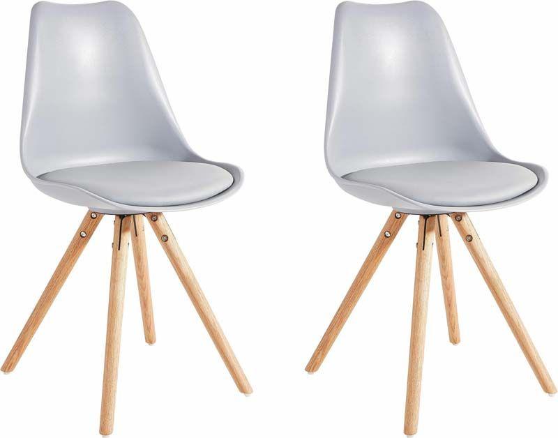 Brenda Spisebordsstol Grå PU sæde ben i eg  - Moderne spisestuestol i grå
