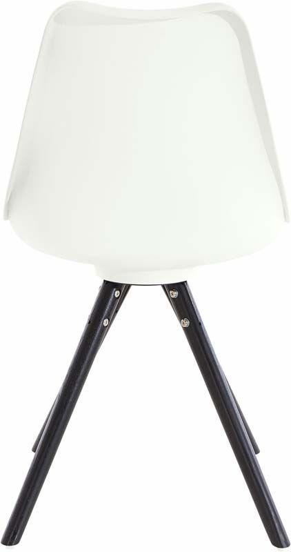 Brenda Spisebordsstol Hvid PU og sorte ege ben  - Hvid spisestuestol med træ