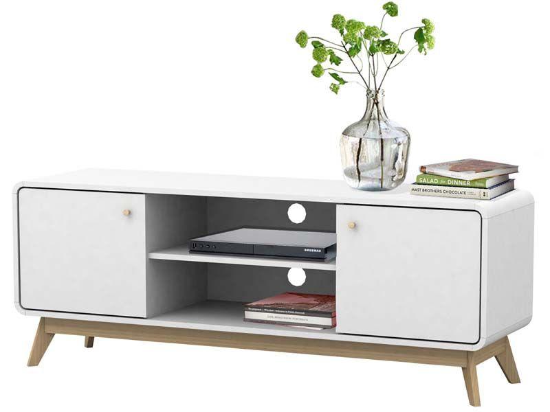 Carl TV-bord Hvid med låger - Hvidt TV-bord m. låger