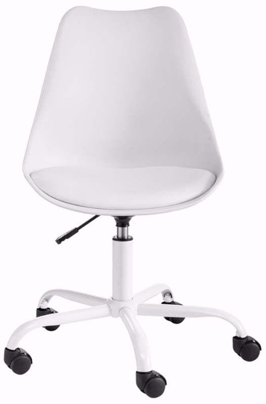 Dan Kontorstol Hvid Plast med PU sæde   - Hvid kontorstol i plast