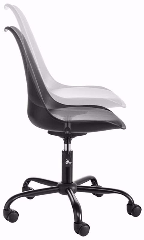 Dan Kontorstol Sort Plast med PU sæde   - Sort kontorstol i plast