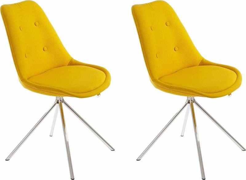 Dylan Spisebordsstol Gult stof med krom ben - Gul spisestuestol med sædepude