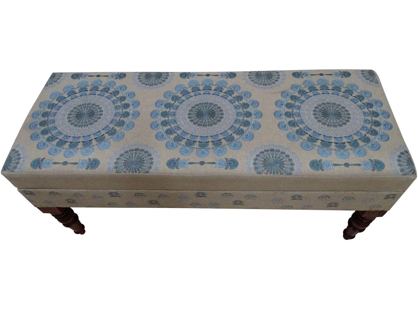 Janice Bænk L105 cm - Blå mønster