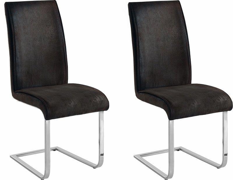 Matt Spisebordsstol Antracit Microfiber      - Spisestuestol med høj ryg