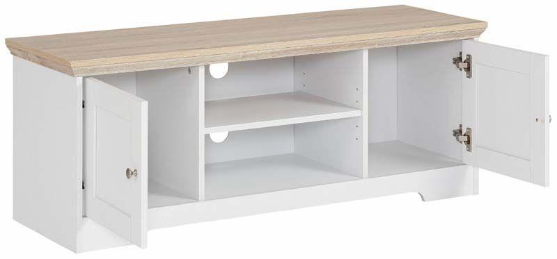 Nancy TV-bord Hvid, Ege-look - 45x120    - Hvid TV-bord i fyrretræ