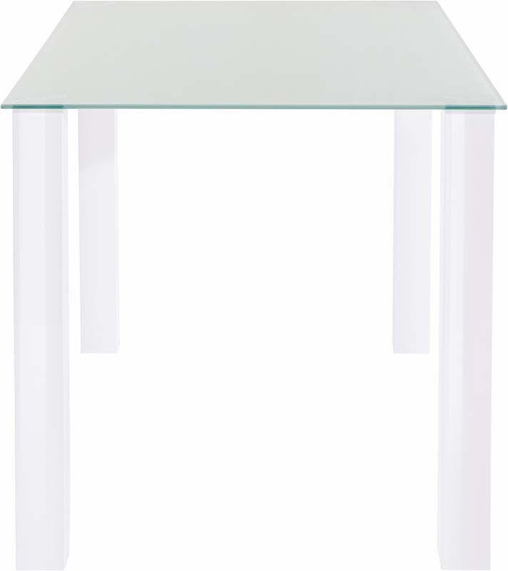 Nat Spisebord Hvid Højglans - 120x80 - Spisebord med glasbordplade