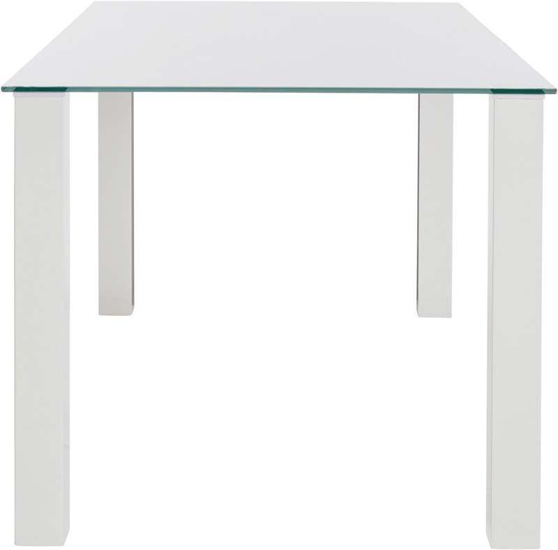 Nat Spisebord Hvid Højglans - 160x90    - Spisebord med glasbordplade