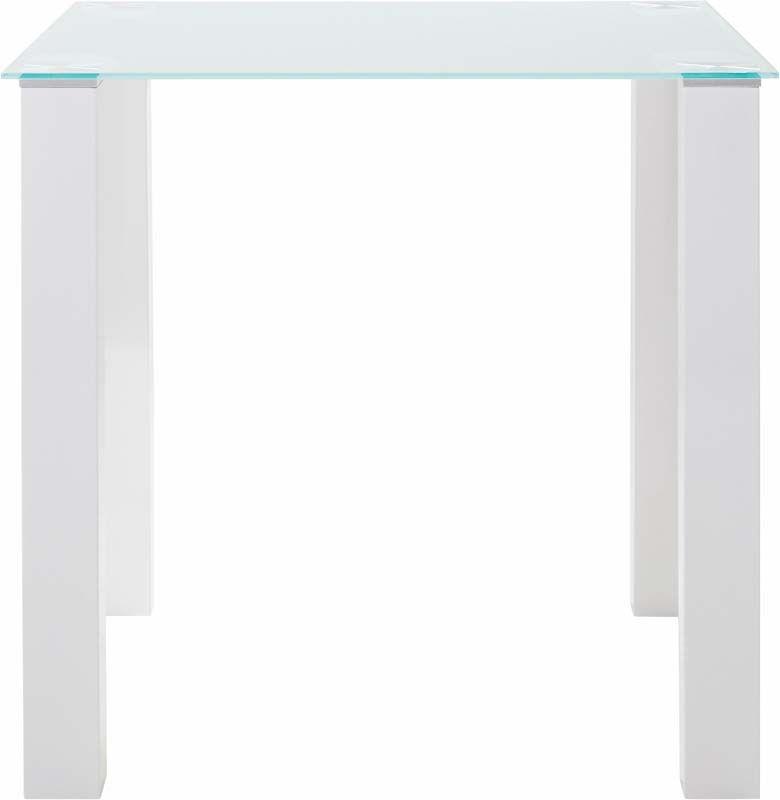 Nat Spisebord Hvid Højglans - 80x80    - Spisebord med glasbordplade