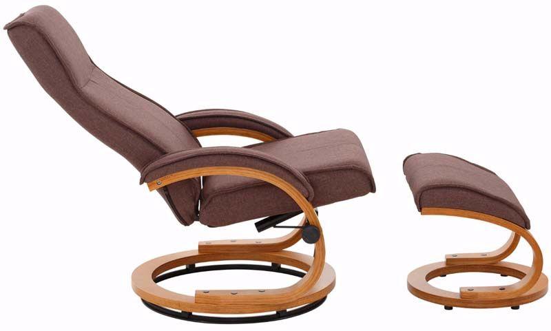 Paprika Hvilestol med skammel Brun Stof    - Hvilestol med brunt stof
