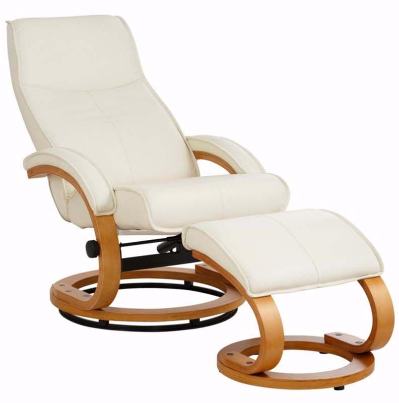 Paprika Hvilestol med skammel Creme Læder    - Hvilestol i lys læder