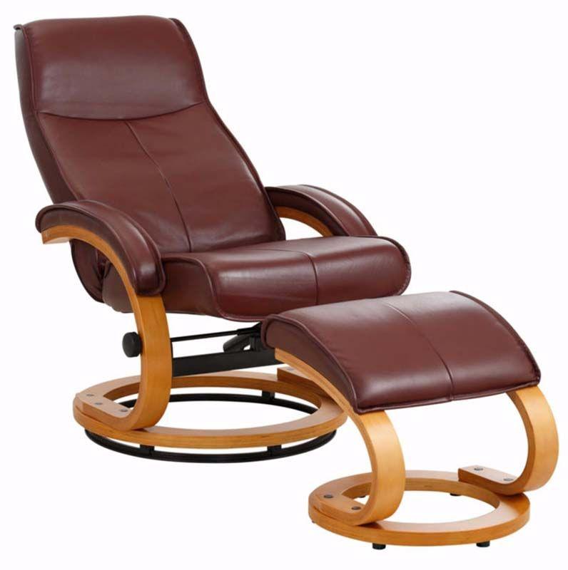 Paprika Hvilestol med skammel Rød Læder    - Hvilestol i rødt læder