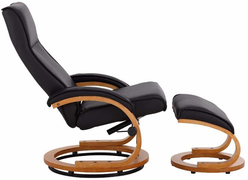 Paprika Hvilestol med skammel Sort PU - Hvilestol med sort kunstlæder