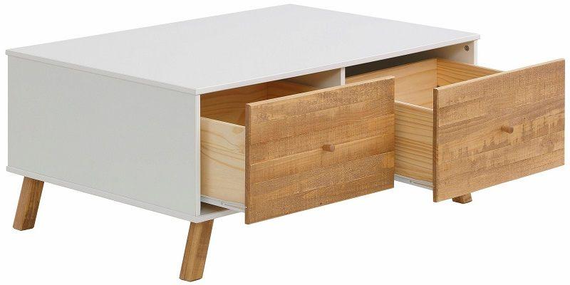 Rafael Sofabord m/2 skuffer - Hvid - Hvidt sofabord med skuffer