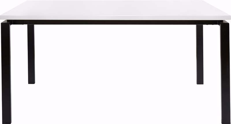 Sandra Spisebord Hvid Højglans 160x90 - Hvid spisebord med sort stel