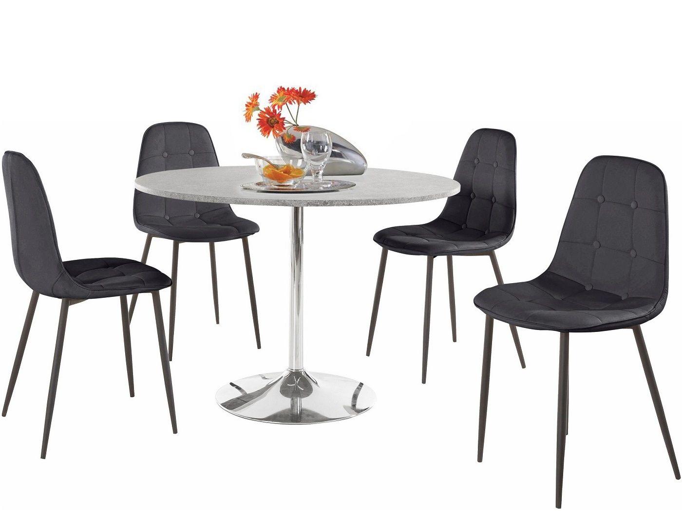 Terri Spisebord Ø110 cm  - Folie m/beton look - Rundt spisebord i betonlook