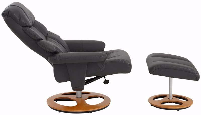 Tony Hvilestol med skammel Gråsort PU - Gråsort hvilestol med skammel
