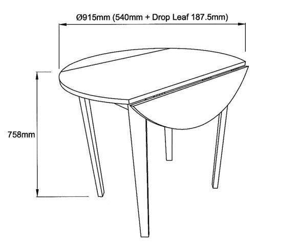 Truman Spisebord Hvid med 2 klapper - Ø91   - FSC-sertifisert tre