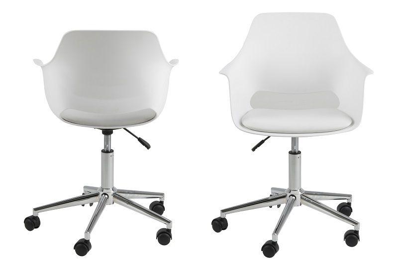 Lola Kontorstol m/5-stjernet fod - Hvid plast - Hvid kontorstol med stjernefod