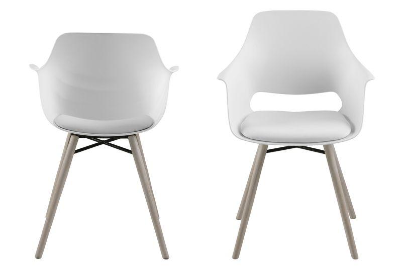 Lola Spisebordsstol m/armlæn - Hvid plast